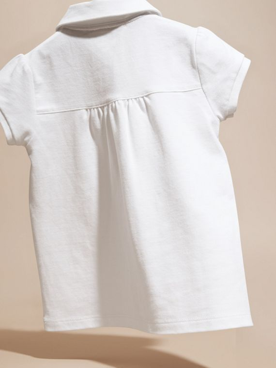 Peter Pan Collar Cotton Piqué Polo Shirt in White - cell image 3