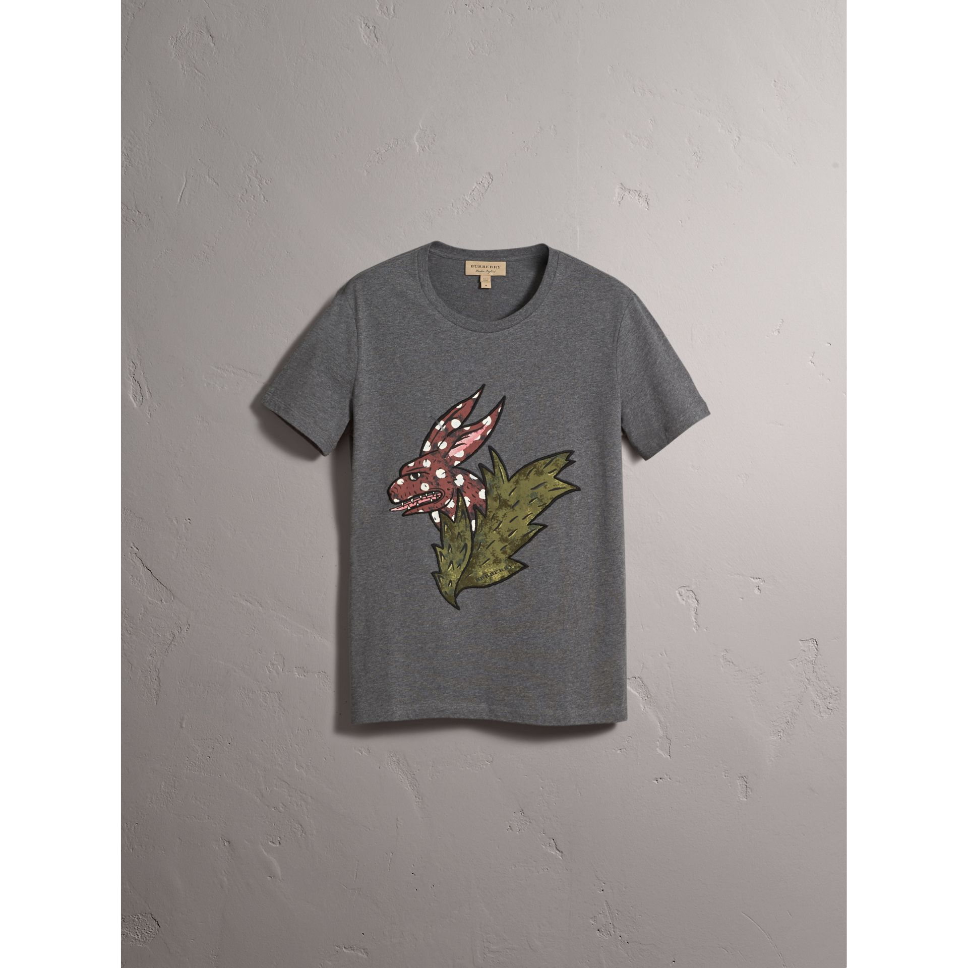 Flocked and Embroidered Beasts Print Cotton T-shirt in Mid Grey Melange - Men | Burberry Hong Kong - gallery image 4