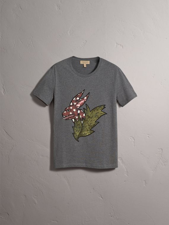 Flocked and Embroidered Beasts Print Cotton T-shirt in Mid Grey Melange - Men | Burberry - cell image 3
