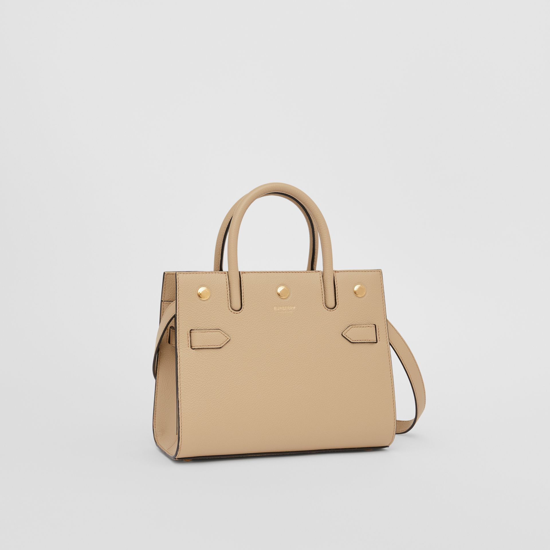 Mini Leather Two-handle Title Bag in Light Beige - Women | Burberry United Kingdom - gallery image 6