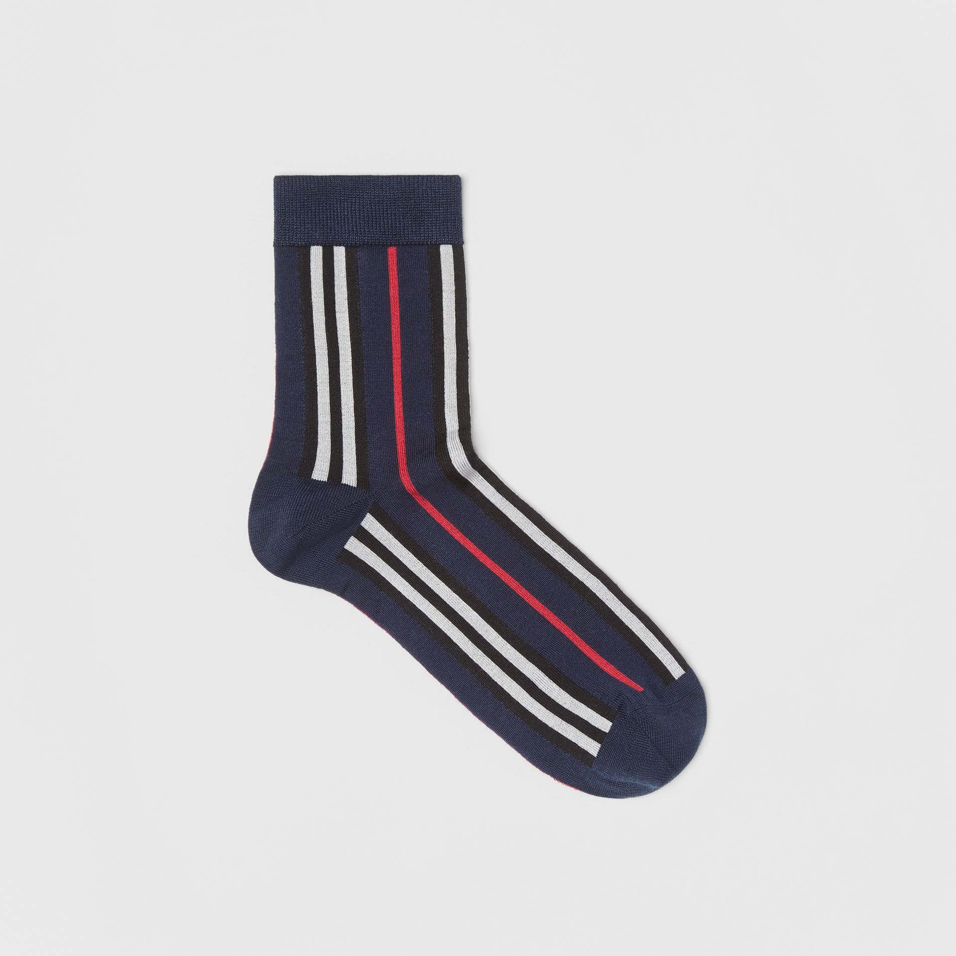 Icon Stripe Intarsia Ankle Socks in Navy | Burberry - gallery image 0