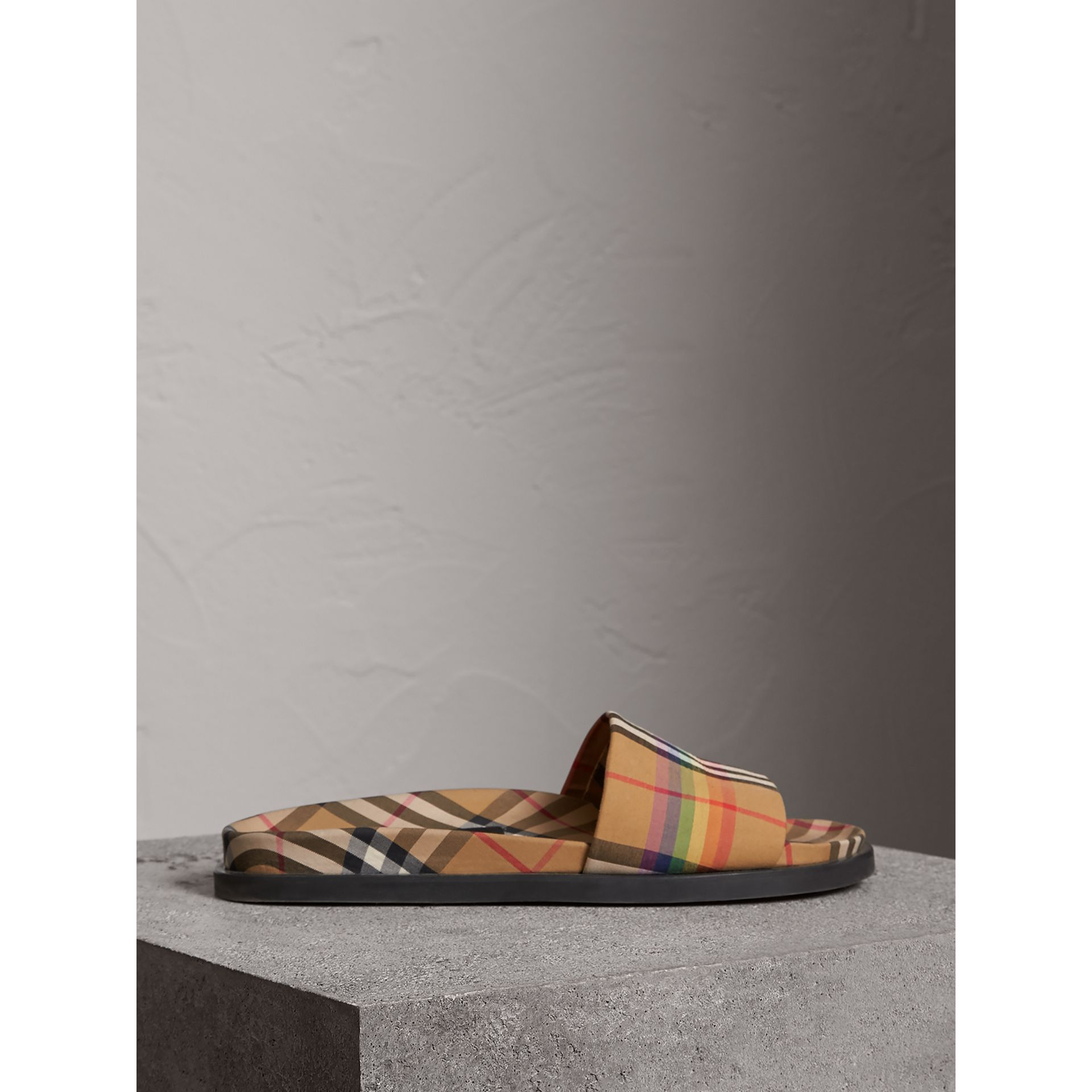 Rainbow Vintage Check Slides in Antique Yellow - Men | Burberry Australia - gallery image 4