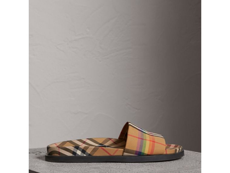 Rainbow Vintage Check Slides in Antique Yellow - Men | Burberry United Kingdom - cell image 4