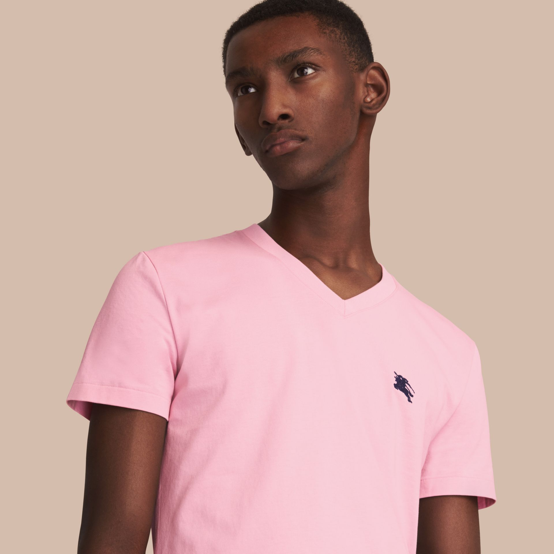 Cotton V-neck T-shirt in Light Pink - Men | Burberry - gallery image 1