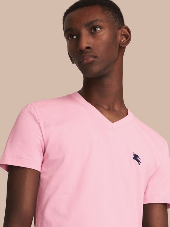 Cotton V-neck T-shirt Light Pink
