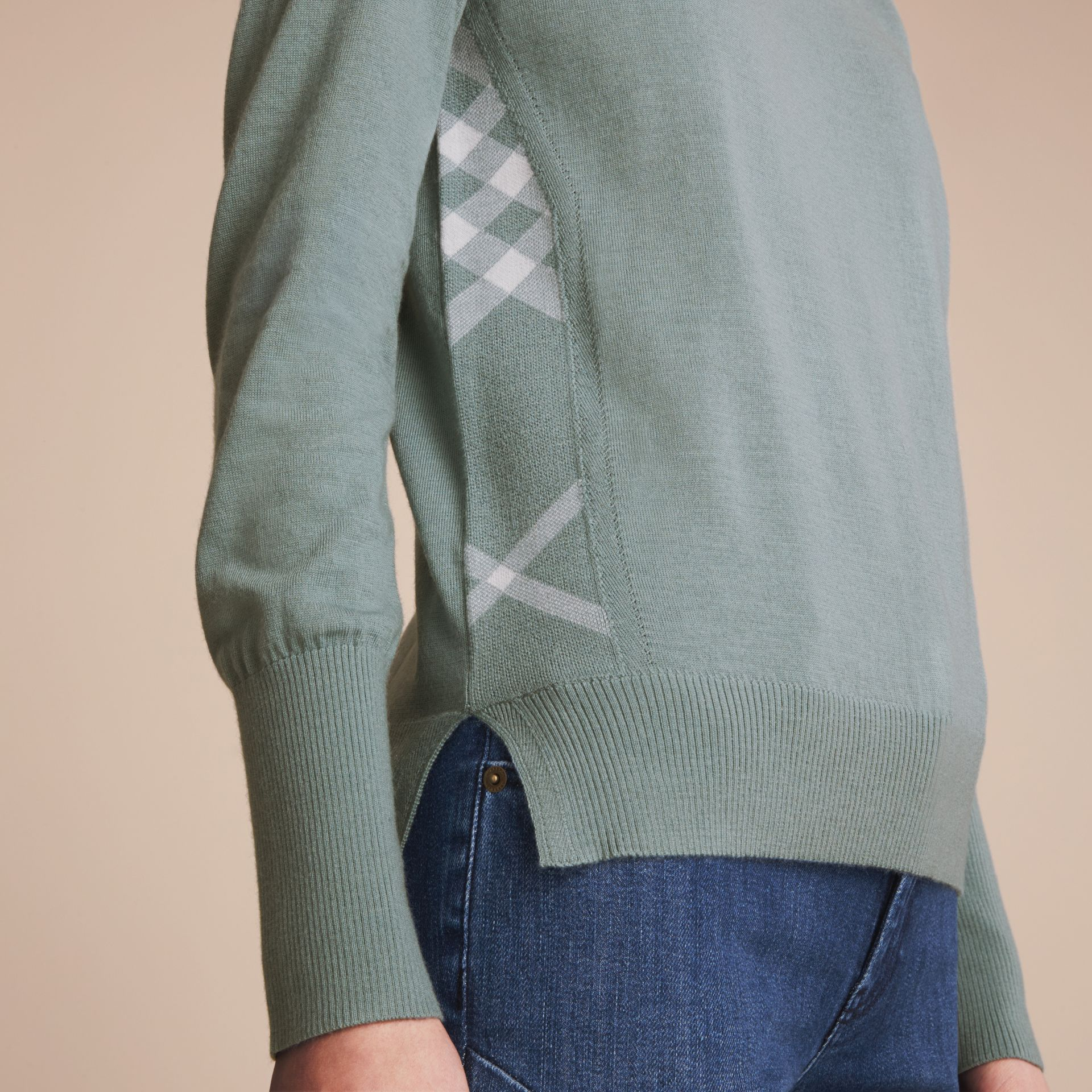Check Detail Merino Wool Sweater in Pale Eucalyptus - Women | Burberry - gallery image 5