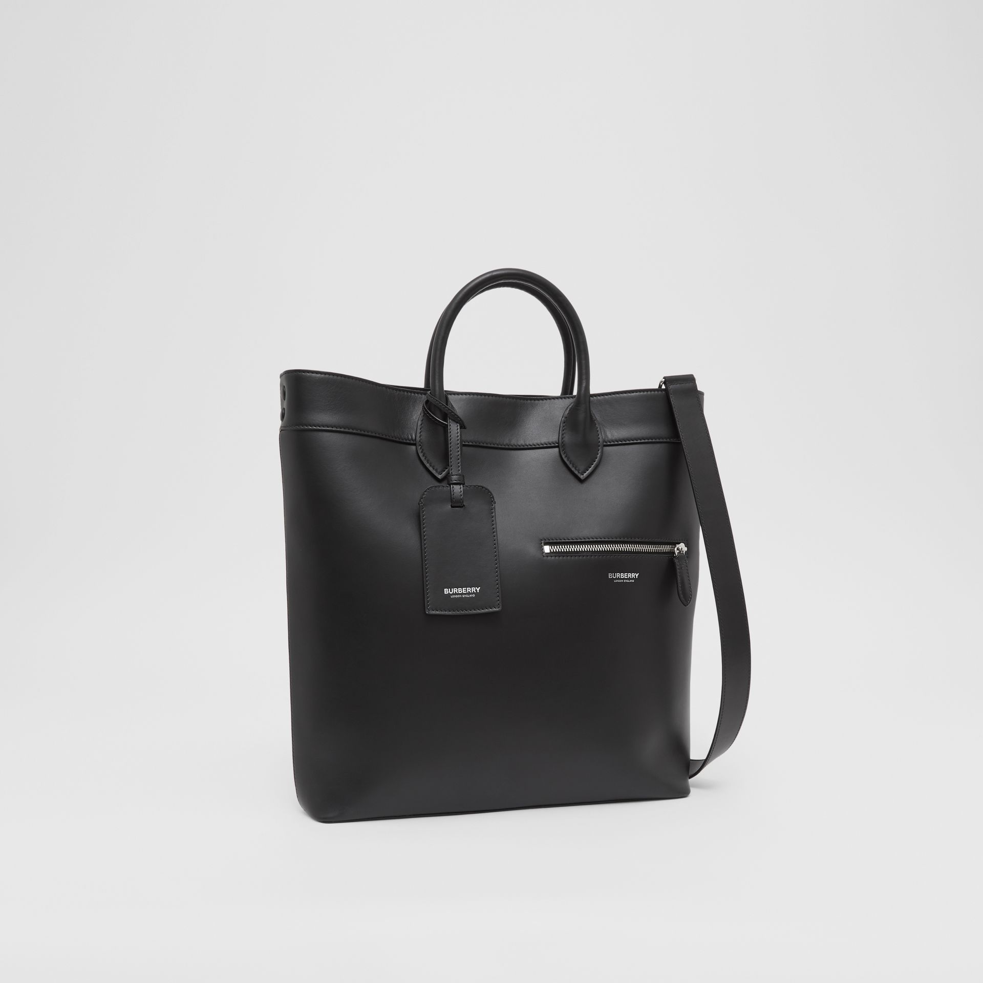 Leather Tote in Black - Men | Burberry - gallery image 8