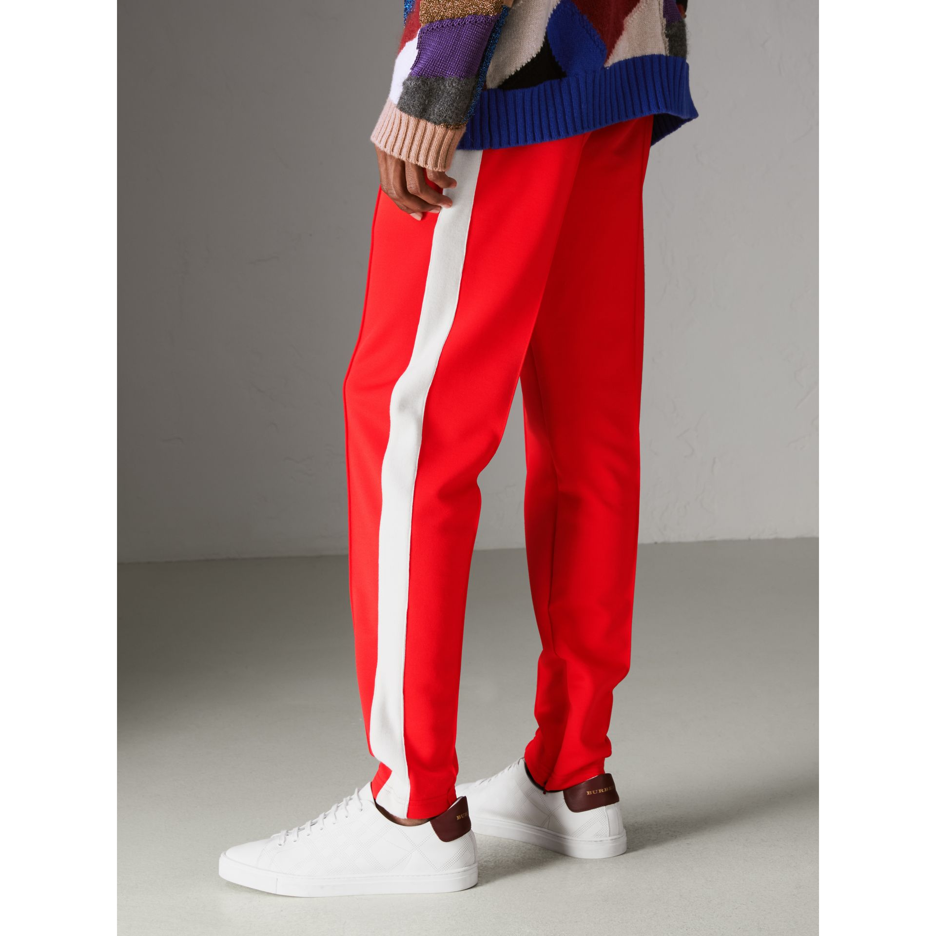 Sport Stripe Cotton Blend Drawcord Trousers in Bright Red - Men | Burberry Australia - gallery image 2