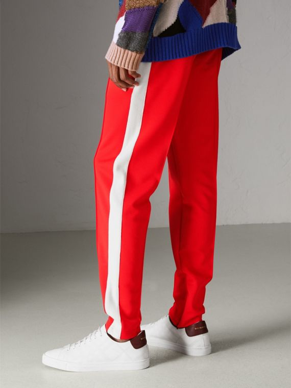Sport Stripe Cotton Blend Drawcord Trousers in Bright Red - Men | Burberry Singapore - cell image 2