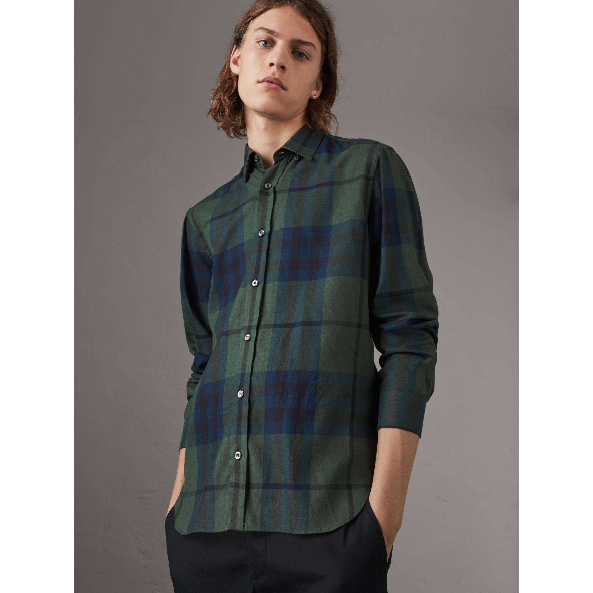 Check Cotton Cashmere Flannel Shirt in Forest Green - Men | Burberry - gallery image 4