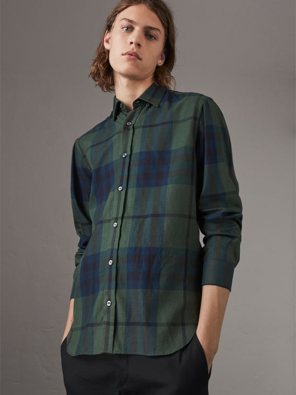 Check Cotton Cashmere Flannel Shirt in Forest Green - Men | Burberry - cell image 3