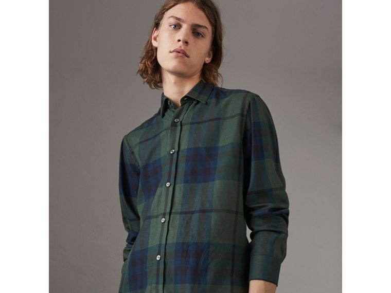 Check Cotton Cashmere Flannel Shirt in Forest Green - Men | Burberry - cell image 4