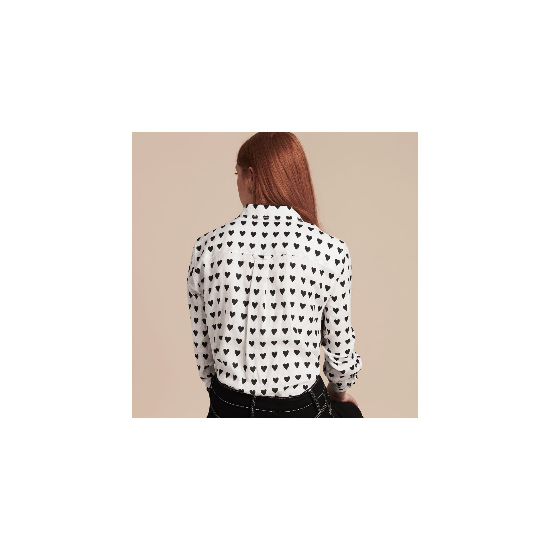 Heart Print Linen Shirt in Natural White - gallery image 3