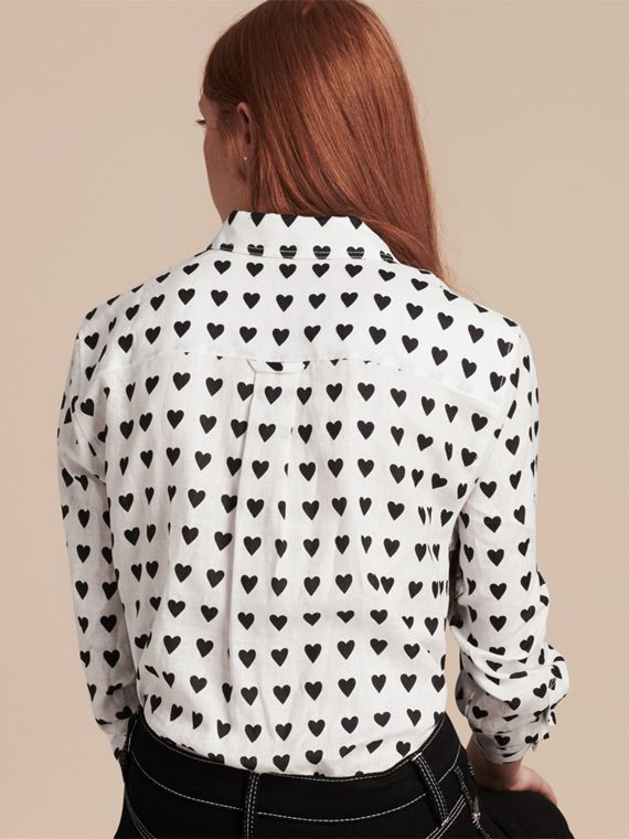 Heart Print Linen Shirt in Natural White - cell image 2