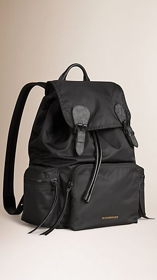 The Large Rucksack in Technical Nylon and Leather