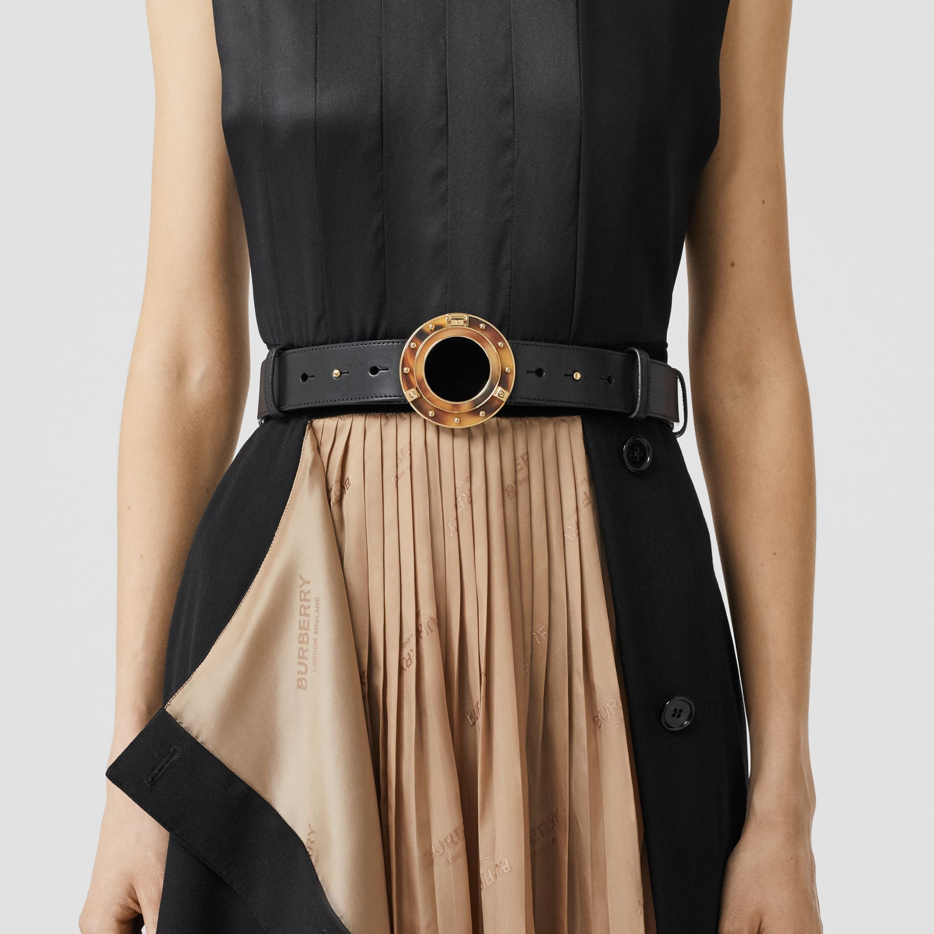 Porthole Buckle Leather Belt in Black - Women | Burberry - gallery image 2