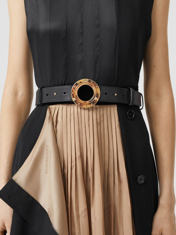 Porthole Buckle Leather Belt in Black - Women | Burberry Singapore - cell image 2