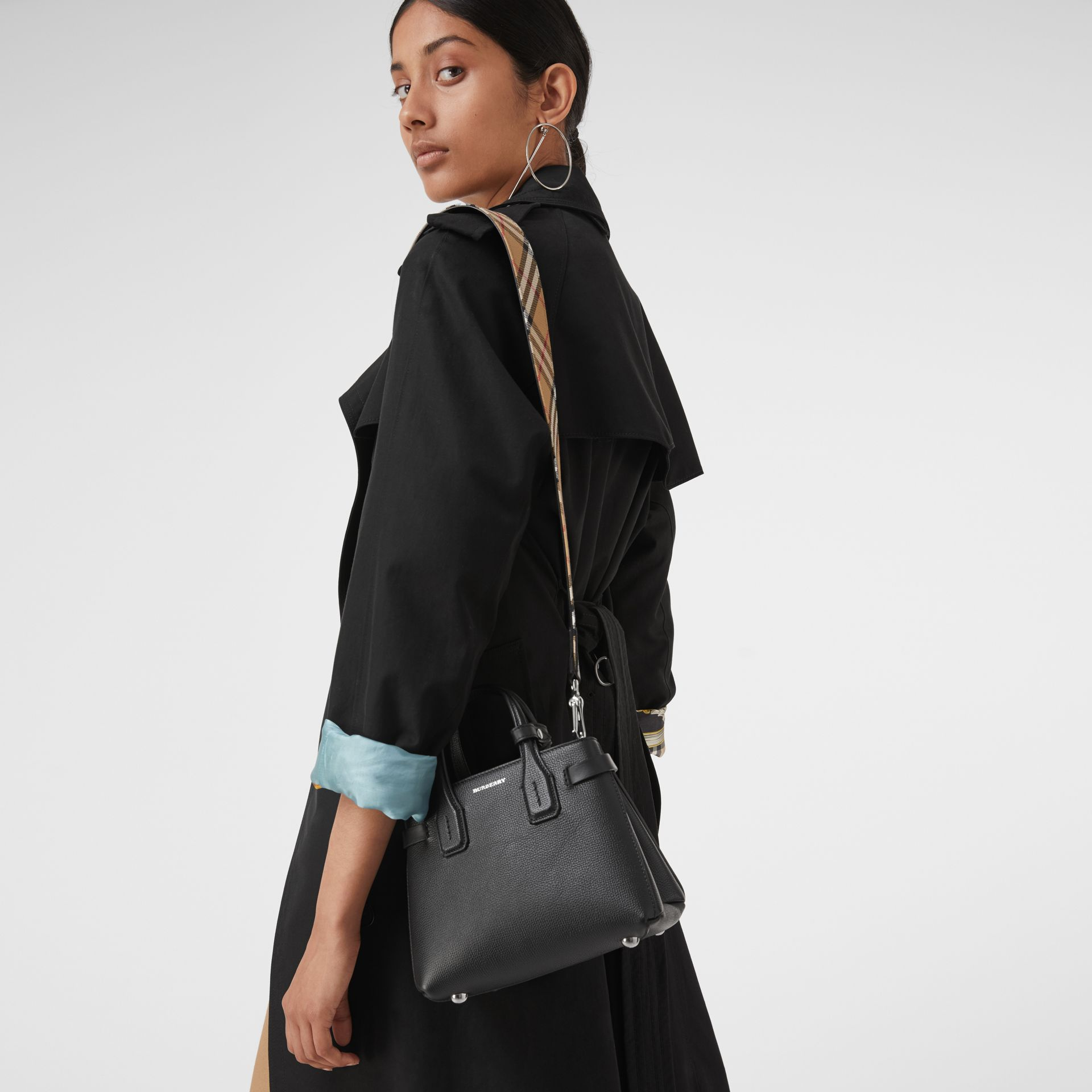 The Baby Banner in Leather and Vintage Check in Black - Women | Burberry Singapore - gallery image 3