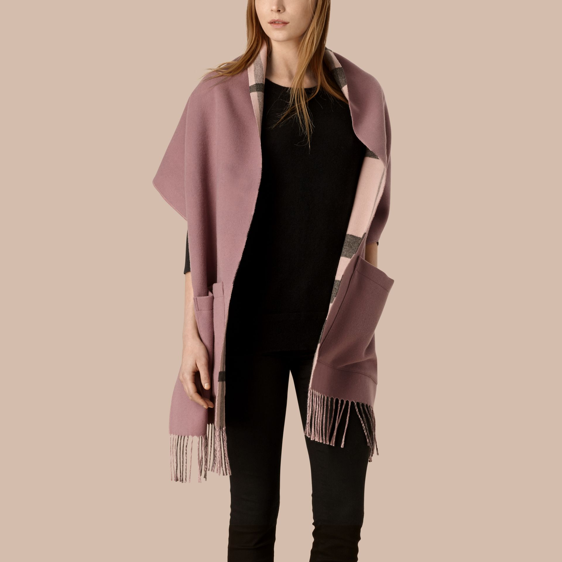 Thistle pink Check Lined Wool Cashmere Stole Thistle Pink - gallery image 3
