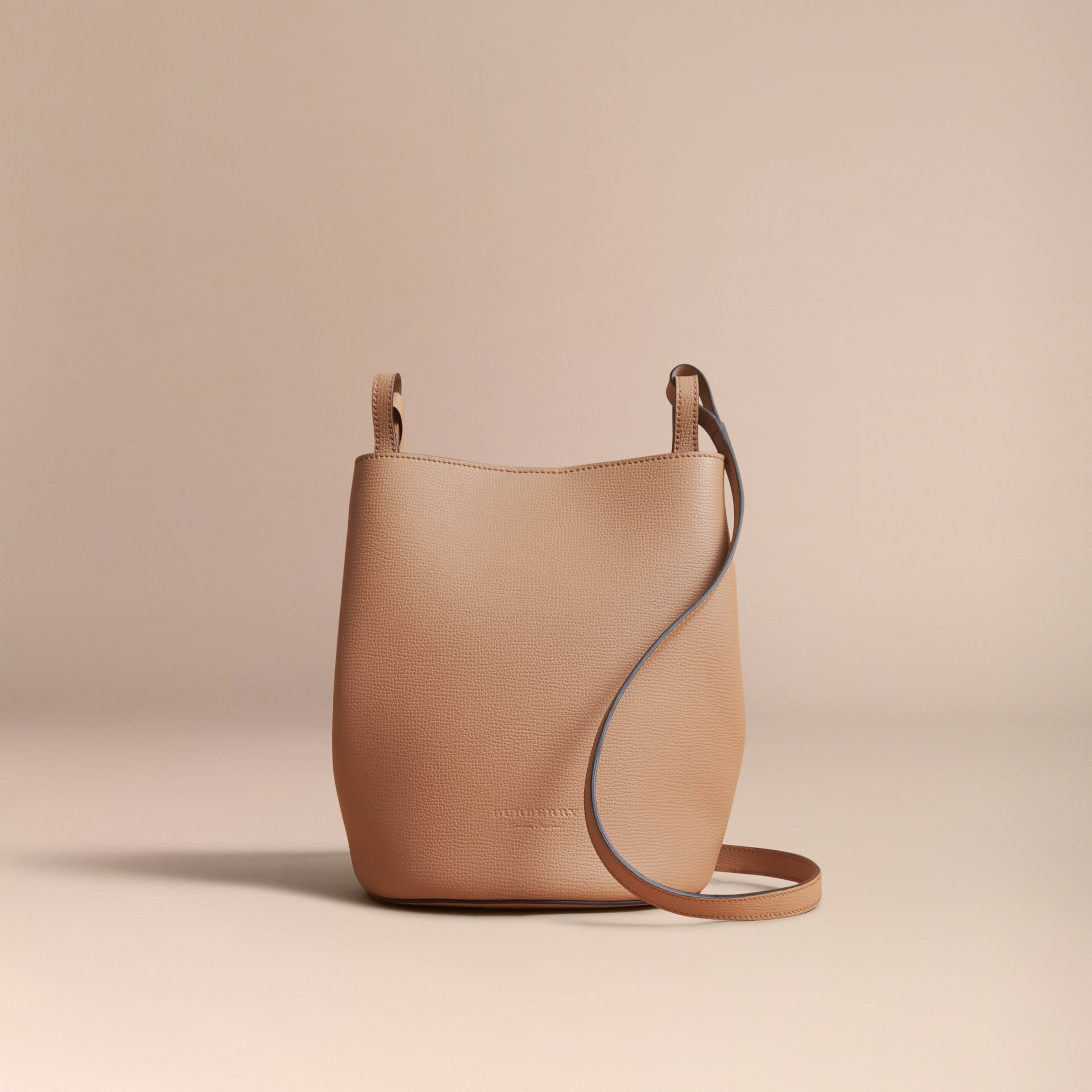 Leather and Haymarket Check Crossbody Bucket Bag in Mid Camel - Women | Burberry - gallery image 7