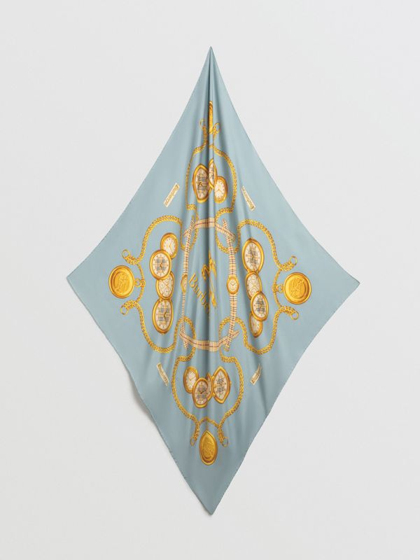 Archive Scarf Print Silk Square Scarf in Light Azure - Women | Burberry - cell image 2