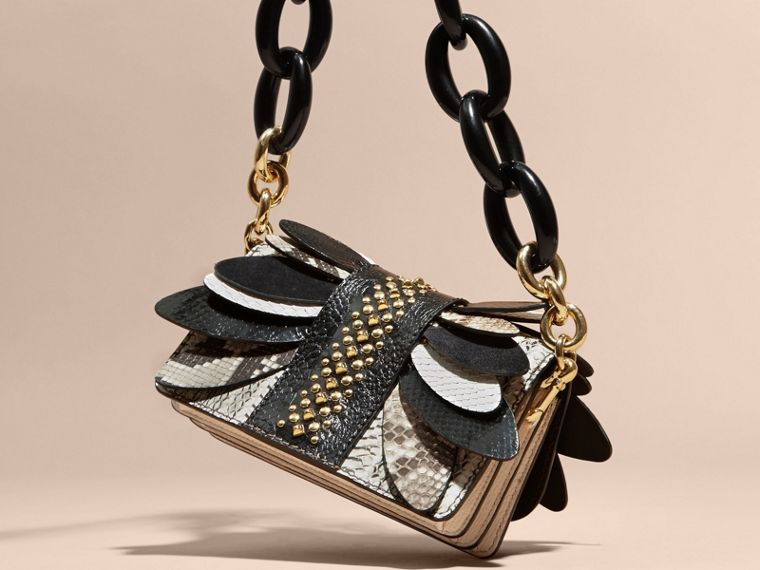 The Small Buckle Bag in Leather and Snakeskin Appliqué - cell image 4