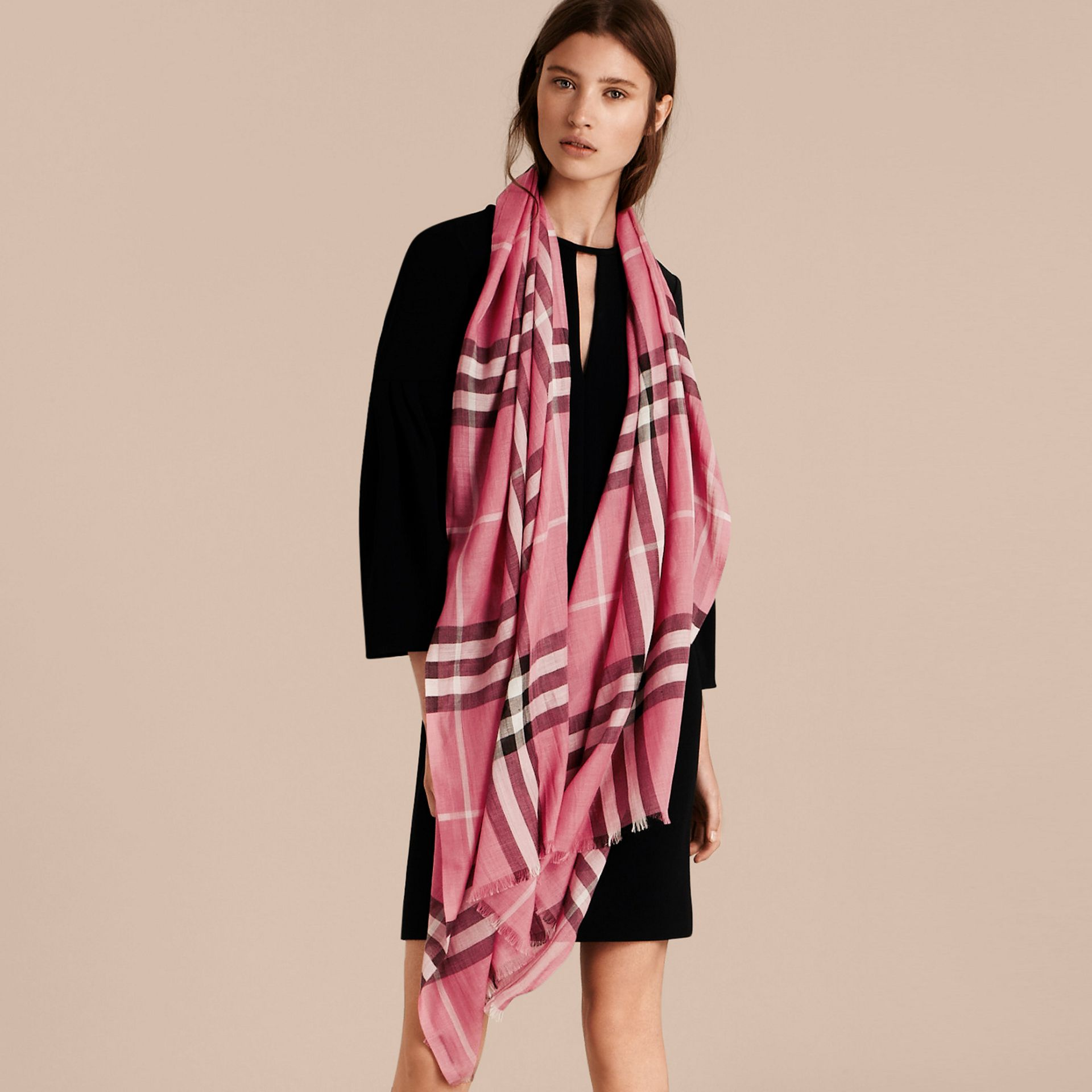 Lightweight Check Wool and Silk Scarf in Rose Pink - gallery image 3