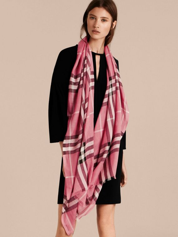 Lightweight Check Wool and Silk Scarf in Rose Pink - cell image 2