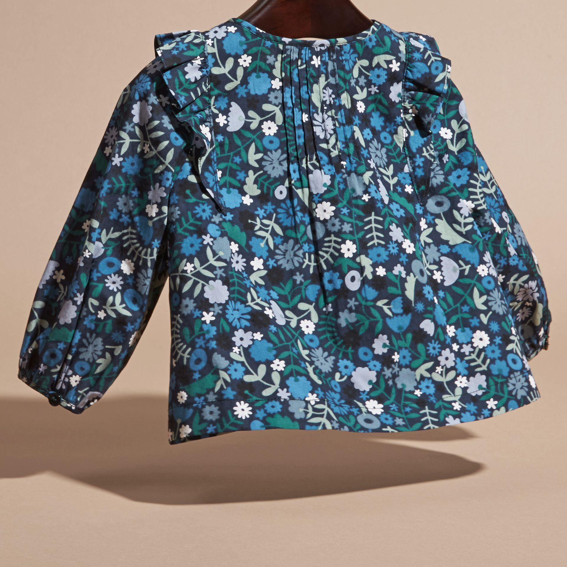 Hydrangea blue Floral Print Cotton Shirt with Ruffle Detail - gallery image 4