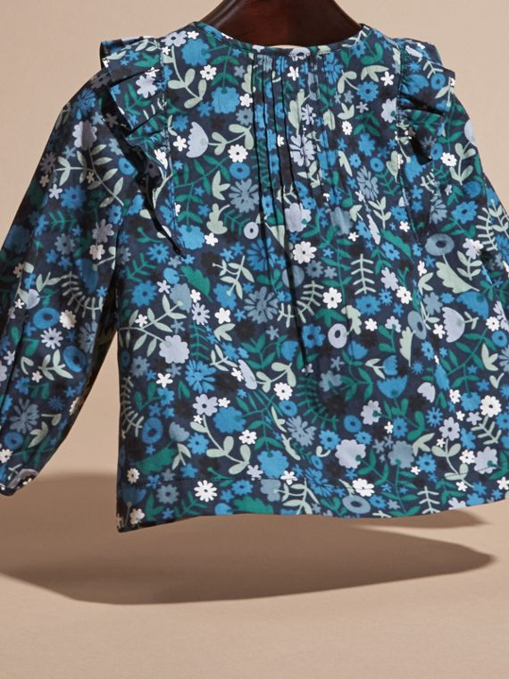 Hydrangea blue Floral Print Cotton Shirt with Ruffle Detail - cell image 3