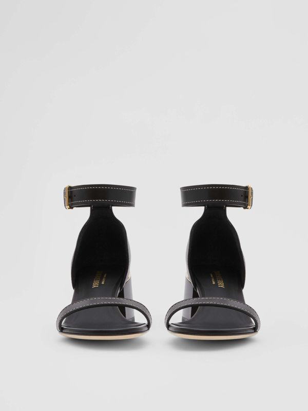 Gold-plated Detail Leather Block-heel Sandals in Black - Women | Burberry Singapore - cell image 2