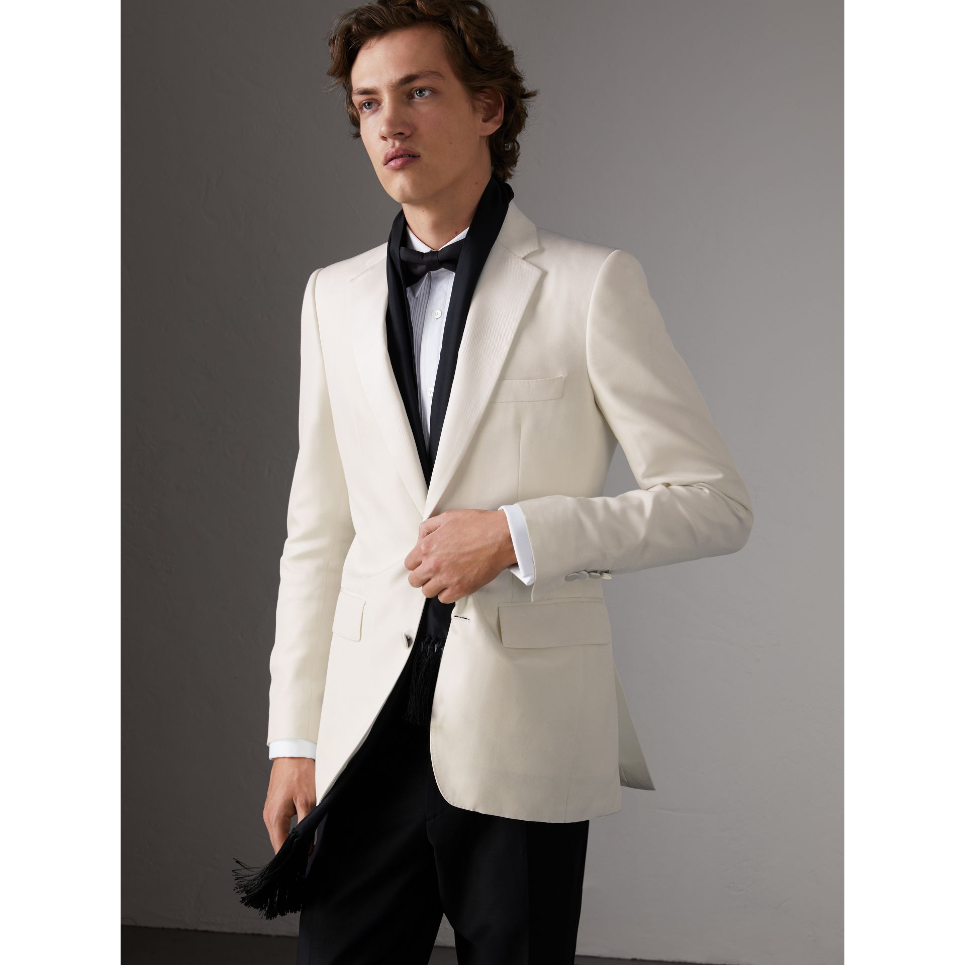 Slim Fit Silk Evening Jacket in Off White - Men | Burberry United Kingdom - gallery image 6