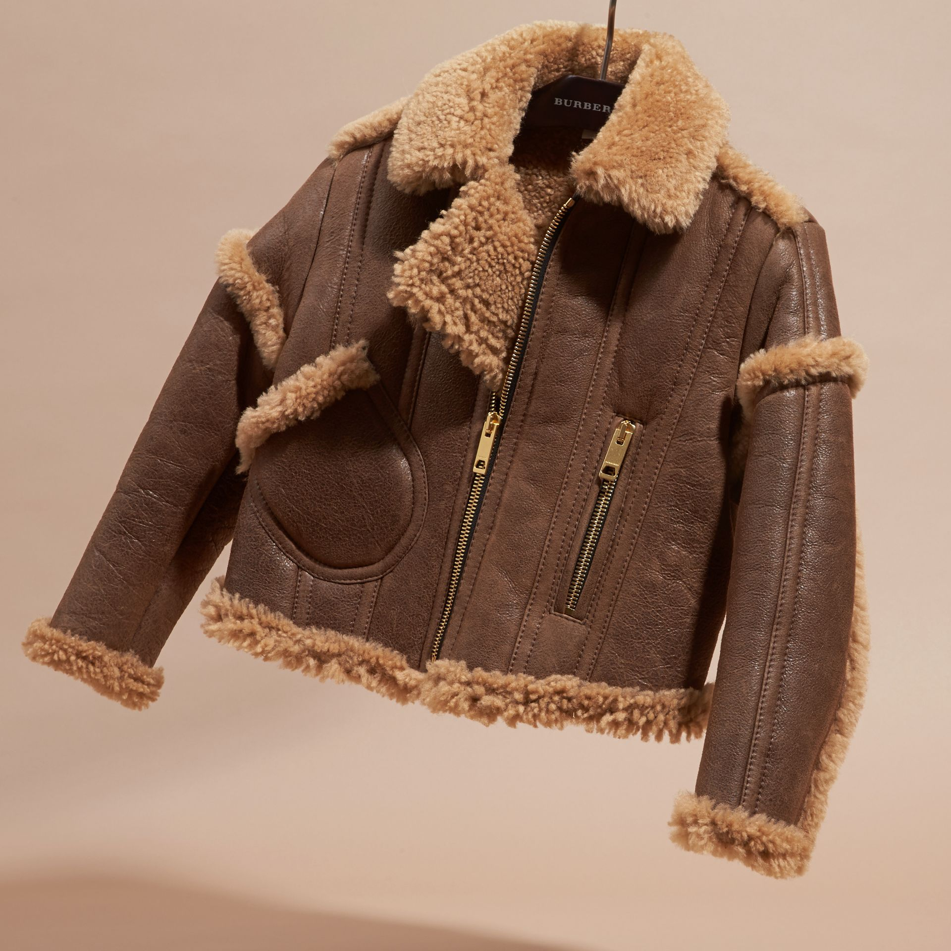 Dark tan Sculptural Shearling Flight Jacket - gallery image 3