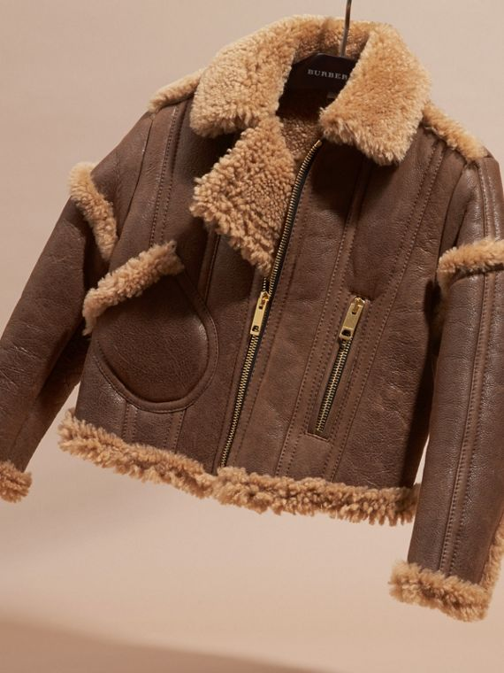 Dark tan Sculptural Shearling Flight Jacket - cell image 2
