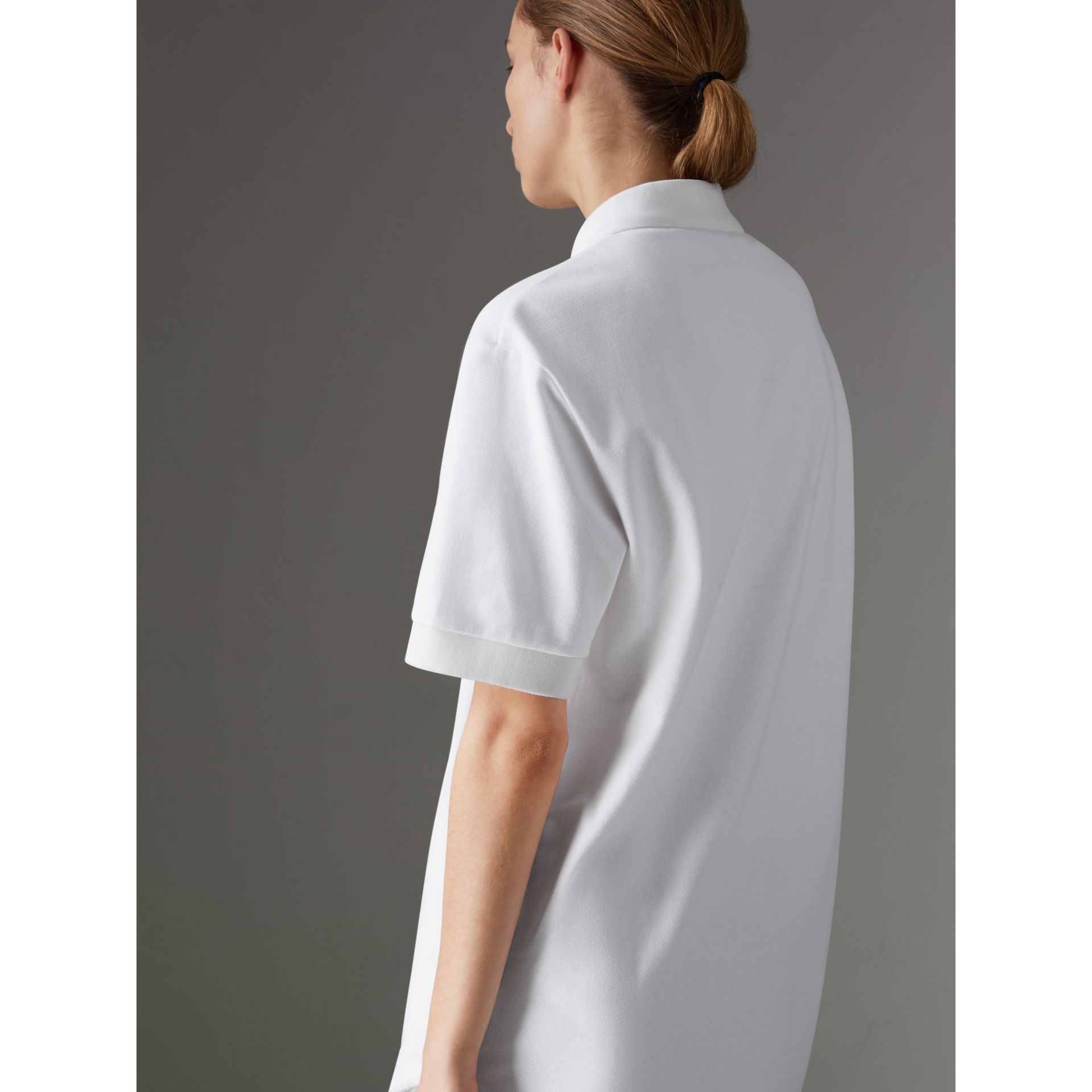 Reissued Cotton Polo Shirt in White - Women | Burberry - gallery image 2