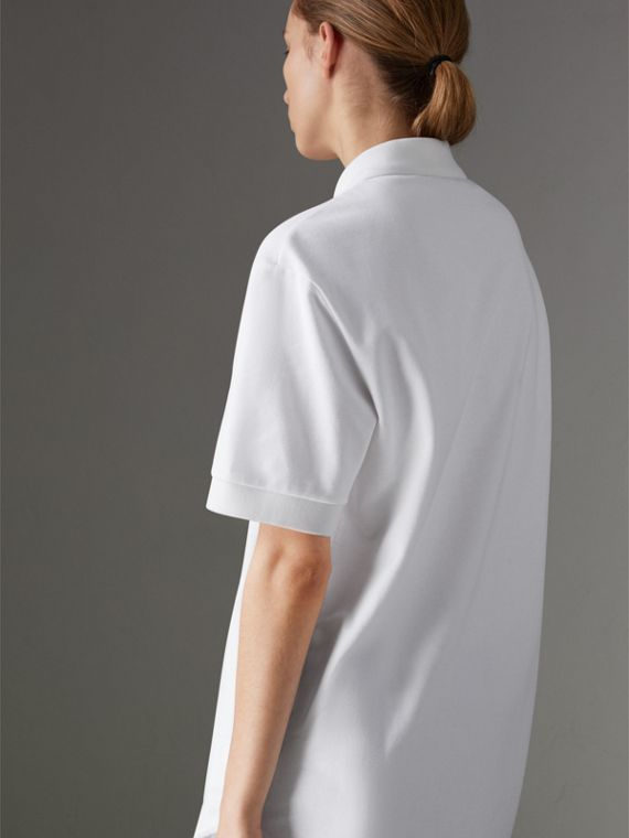 Reissued Cotton Polo Shirt in White - Women | Burberry - cell image 2