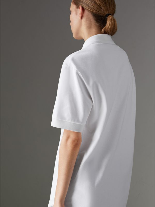 Reissued Cotton Polo Shirt in White - Women | Burberry Canada - cell image 2
