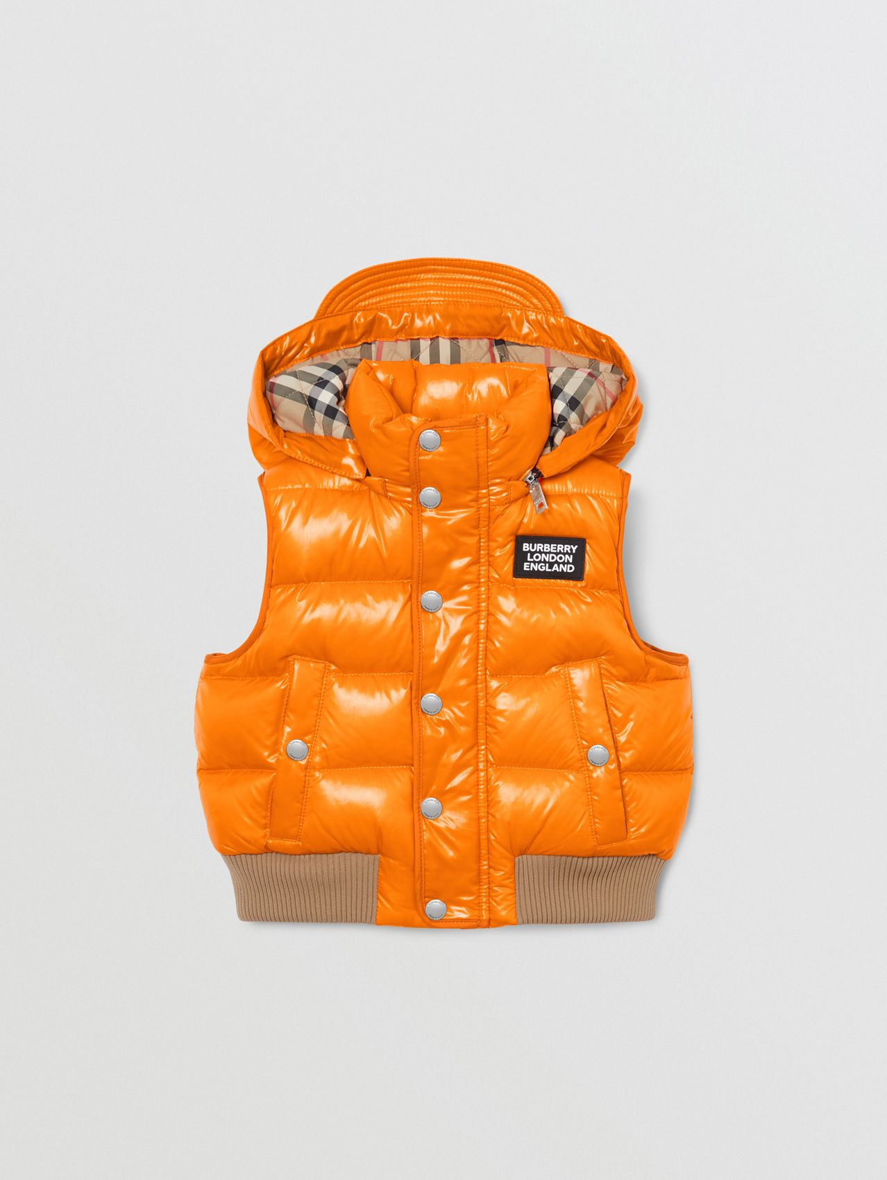 Detachable Hood Nylon Puffer Gilet in Bright Mandarin