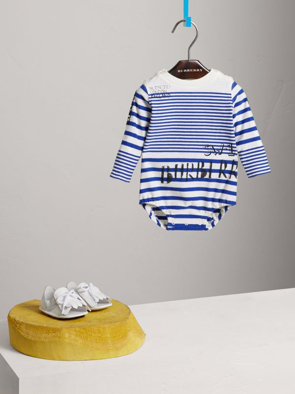 SW1 Print Striped Cotton Jersey Bodysuit in Bright Lapis/natural White - Children | Burberry Australia - cell image 2