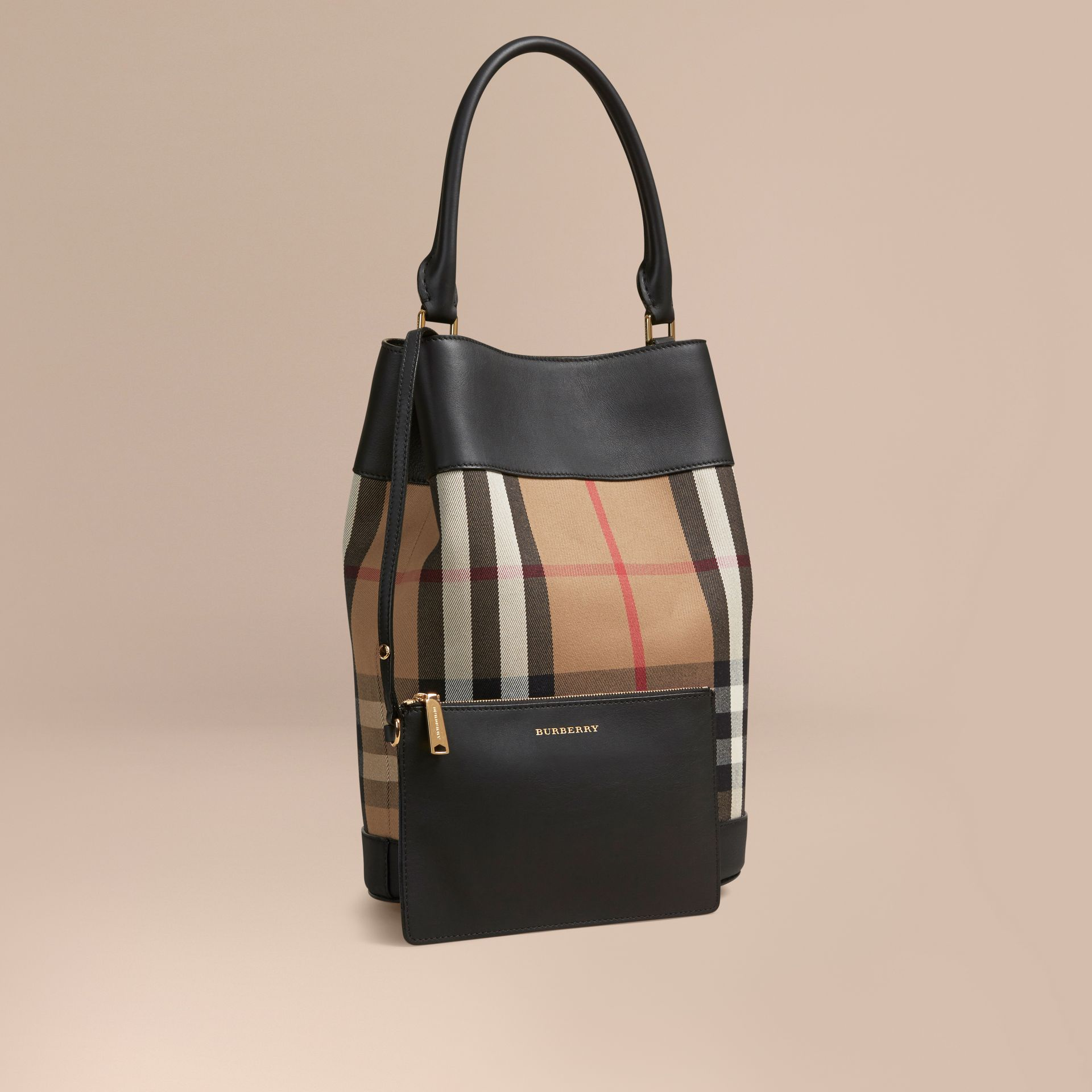 Black The Bucket Bag in House Check and Leather Black - gallery image 1