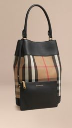 The Bucket Bag in House Check and Leather