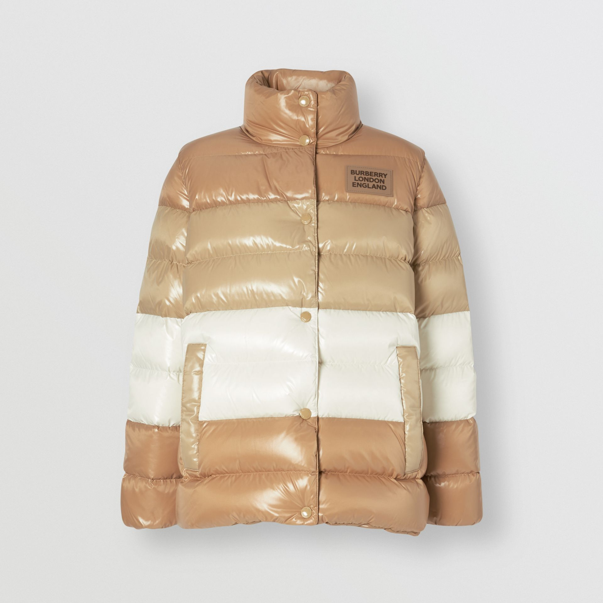 Panelled Nylon Puffer Jacket with Detachable Sleeves in Soft Camel - Women | Burberry - gallery image 3