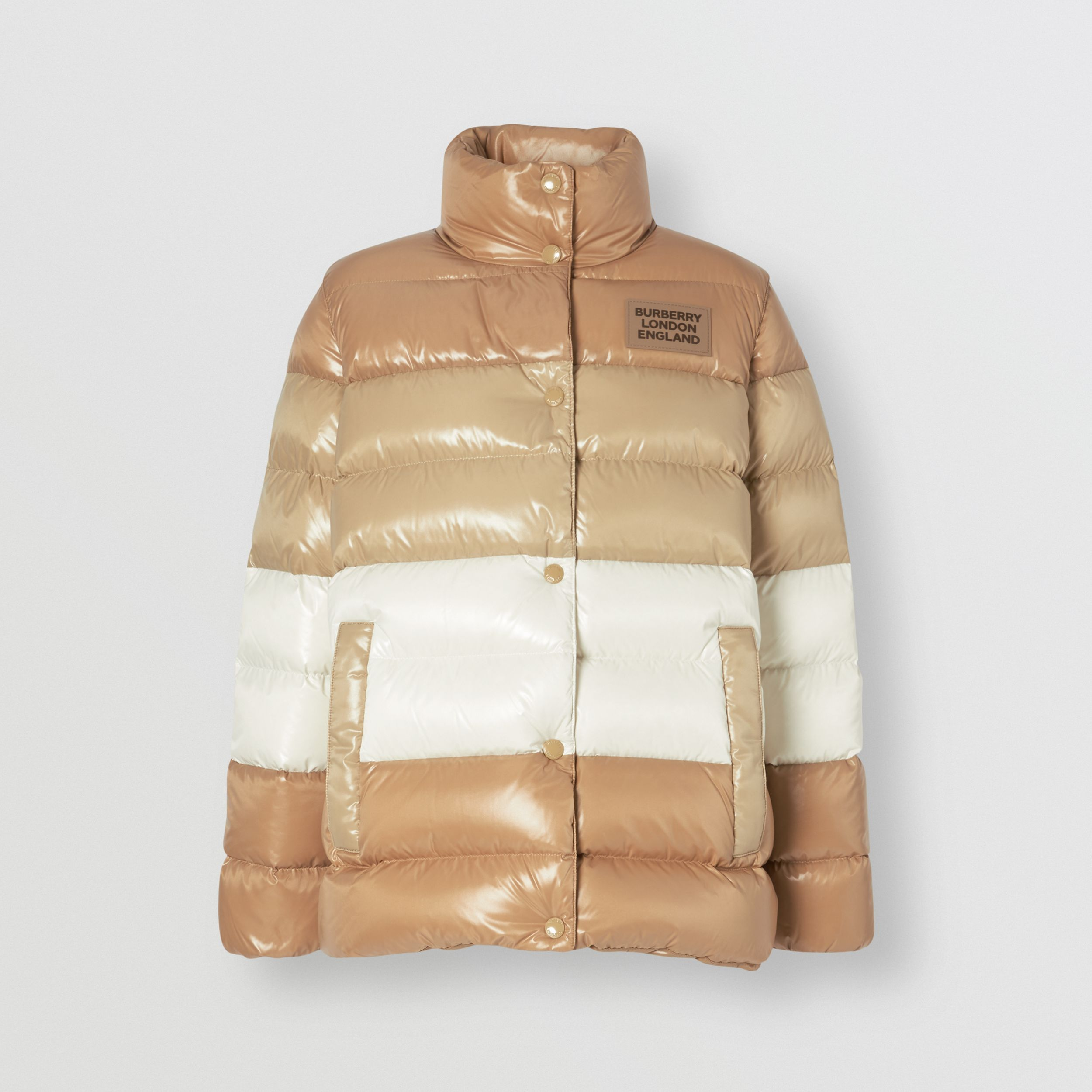 Panelled Nylon Puffer Jacket with Detachable Sleeves in Soft Camel - Women | Burberry - 4