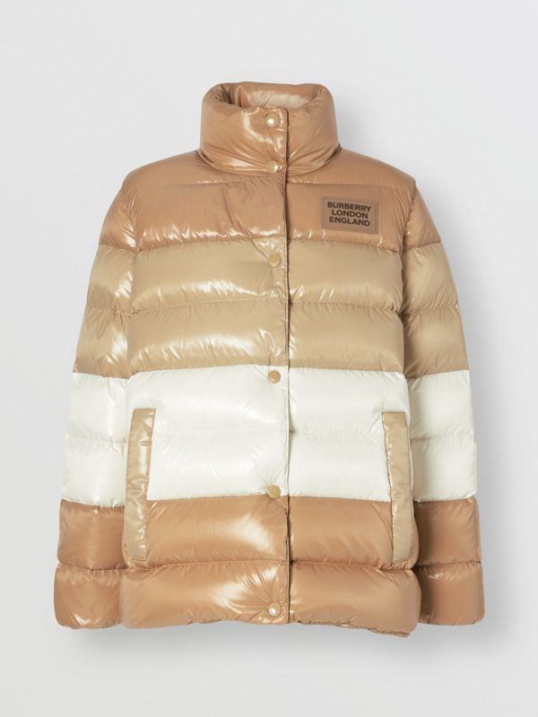 Panelled Nylon Puffer Jacket with Detachable Sleeves in Soft Camel - Women | Burberry - cell image 3