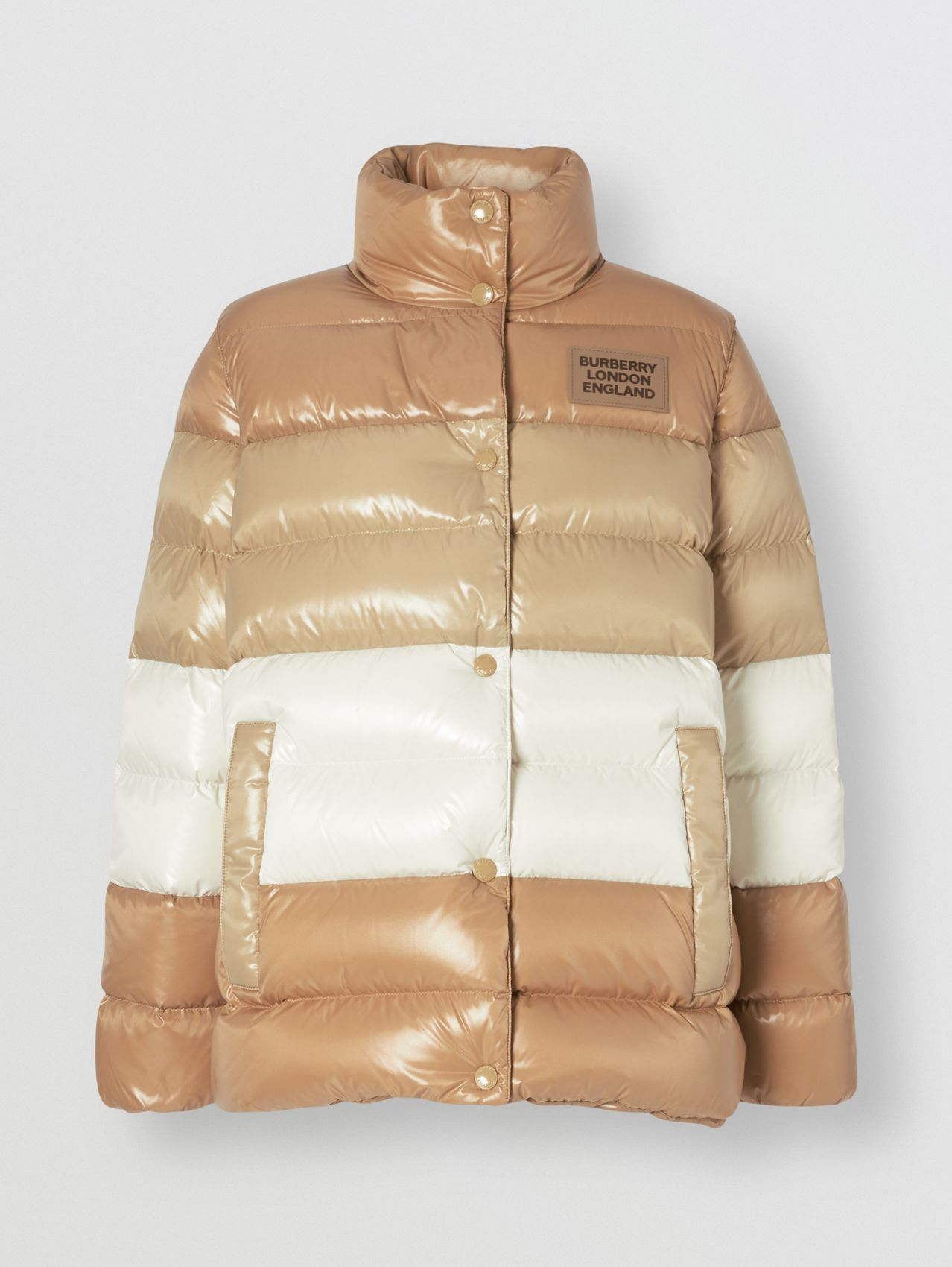 Panelled Nylon Puffer Jacket with Detachable Sleeves in Soft Camel