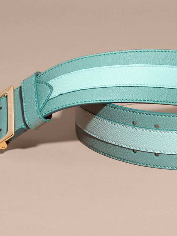 Celadon blue Appliquéd Textured Suede and Leather Belt Celadon Blue - cell image 3