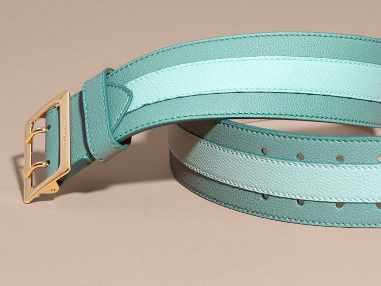 Celadon blue Appliquéd Textured Suede and Leather Belt Celadon Blue - cell image 2