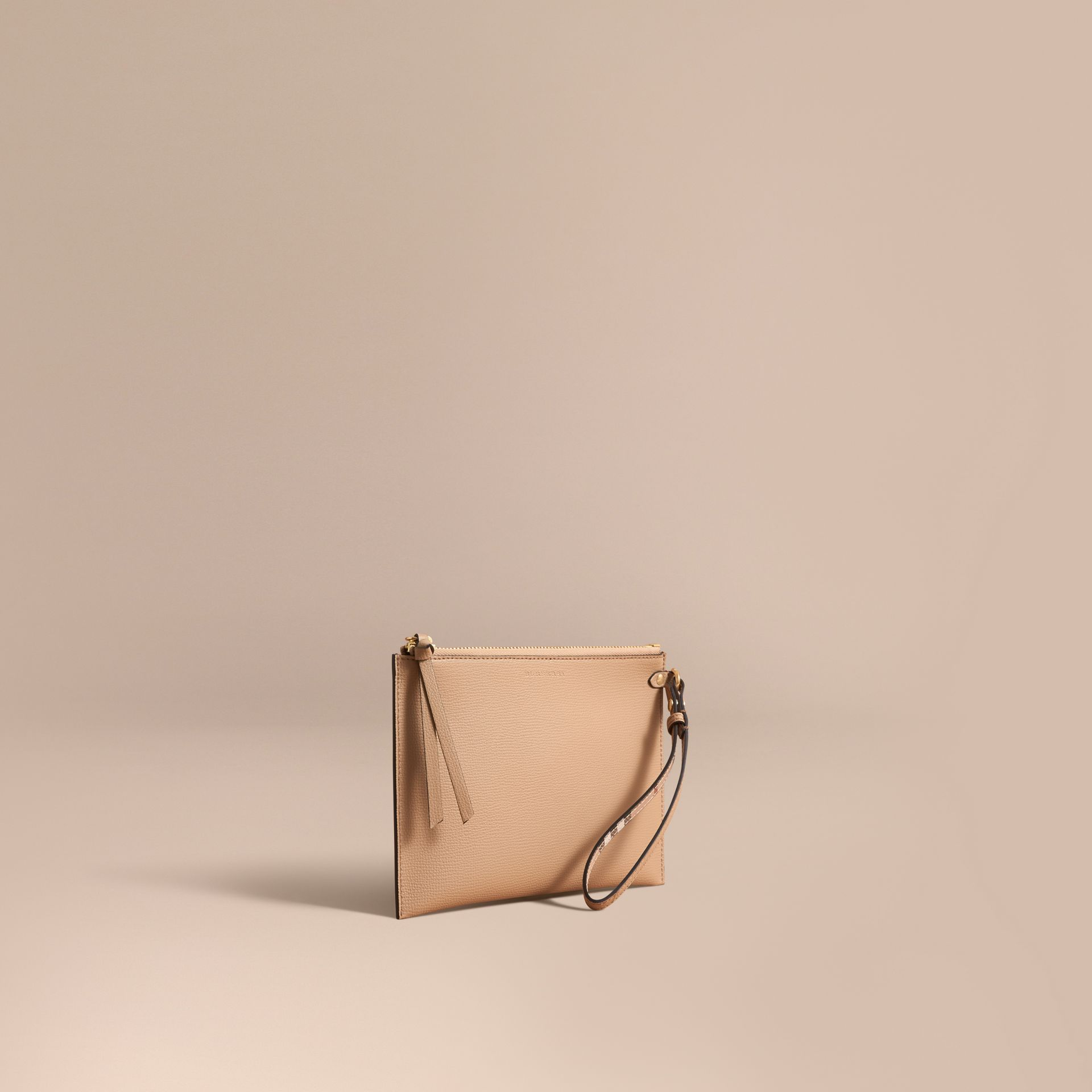Haymarket Check and Leather Pouch in Mid Camel - Women | Burberry Australia - gallery image 1