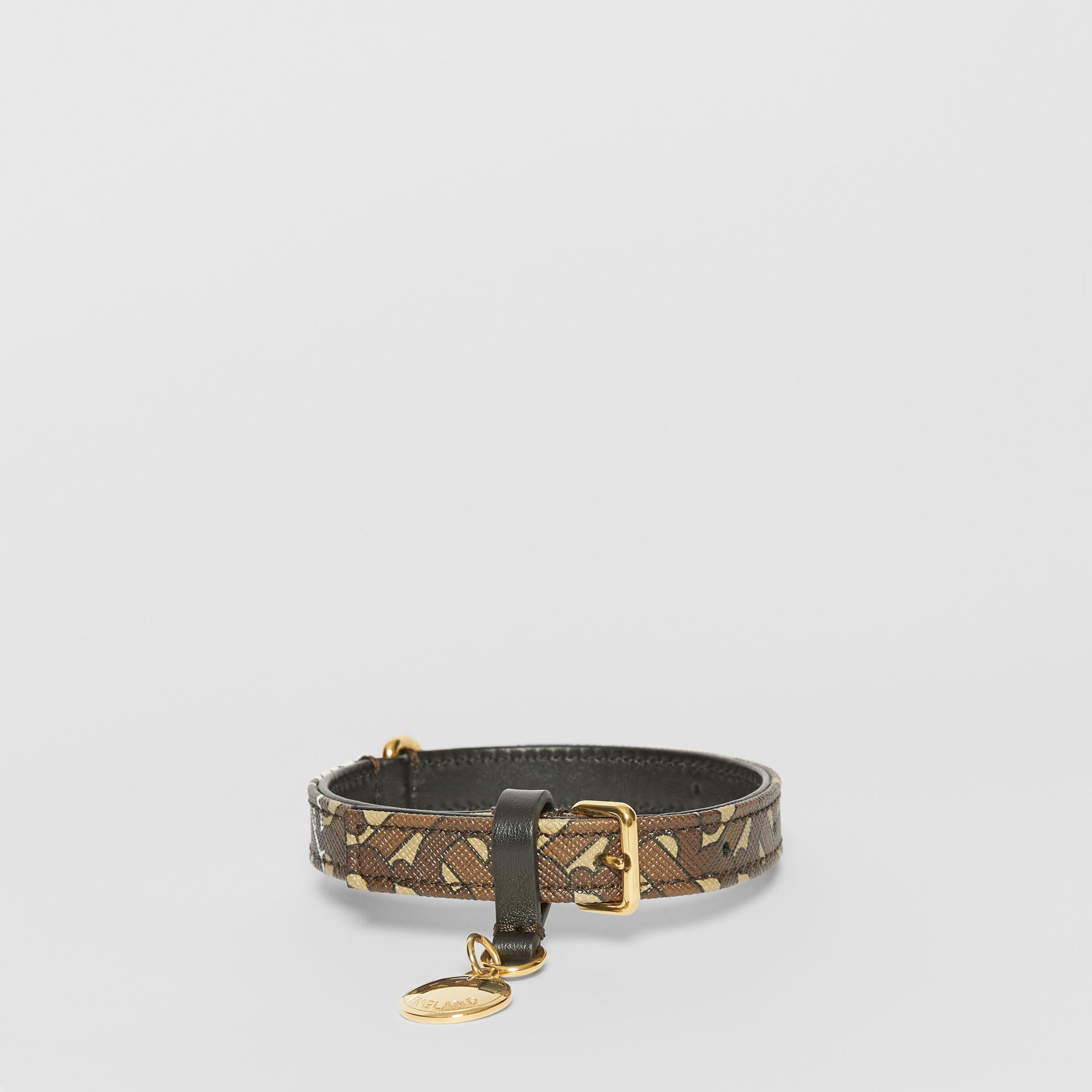 Small Monogram Stripe E-canvas Dog Collar in Bridle Brown | Burberry - gallery image 0