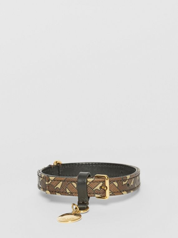 Small Monogram Stripe E-canvas Dog Collar in Bridle Brown